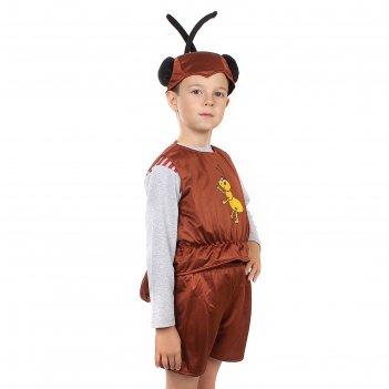 Детский карнавальный костюм муравей: безрукавка, шорты, шапка, набивной хв