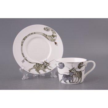 Чайный набор на 1 персону 2 пр.кошки 200 мл.(кор...