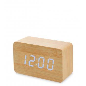 Ял-07-05/ 9 часы электронные сред. (жёлтое дерево с синей подсветкой)