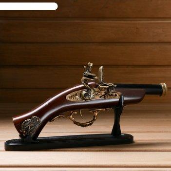 Сувенирное изделие настольное серия ретро, пистолет с черным дулом 14*27см