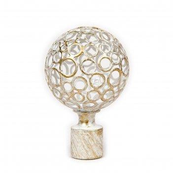 Наконечник «ажур», 2 шт, диаметр 16 мм, цвет слоновая кость/золото