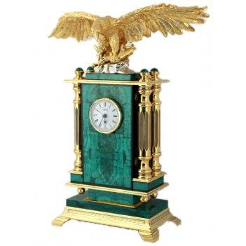 Часы каминные орел малахит