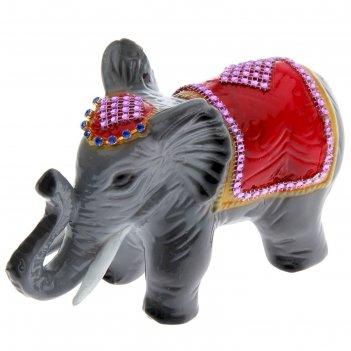 Статуэтка слон стразы, серый