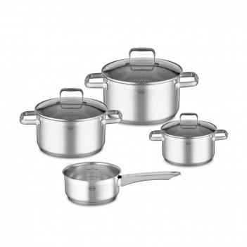 Набор посуды из 4 предметов, материал: нержавеющая сталь 18/10, серия char