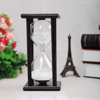 Песочные часы черные с белым песком на 60 минут