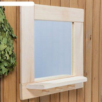 Зеркало квадратное, большое с полкой и 3 крючками, 53x53x1,6 см
