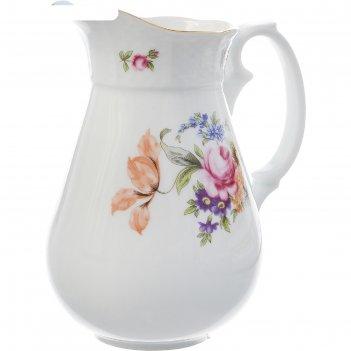 Молочник высокий 1000 мл, menuet, декор мейсенский цветок, отводка золото