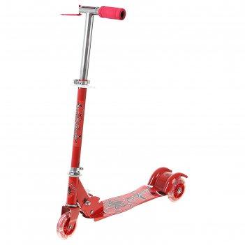 Самокат стальной от-995, три колеса pvc, d=100 мм, цвет: красный, до 50 кг