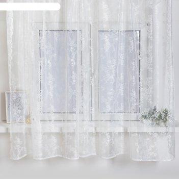 Тюль со шторной лентой 175х275 см, белый 97, пэ 100%