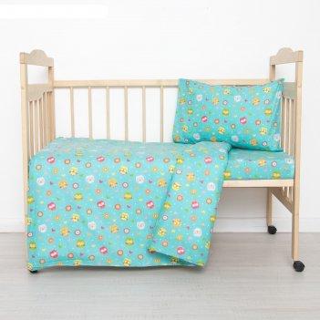 Постельное бельё детское совунья, цвет бирюзовый, 112x147, 100x150, 40x60
