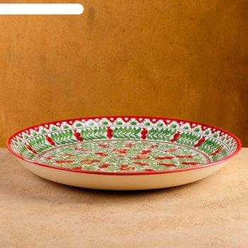 Ляган круглый риштанская керамика 32см