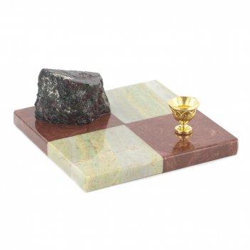 Подсвечник шахматный лемезит офиокальцит 100х100х40 мм 300 гр.
