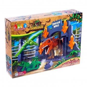Конструктор блочный мир динозавров, 68 деталей