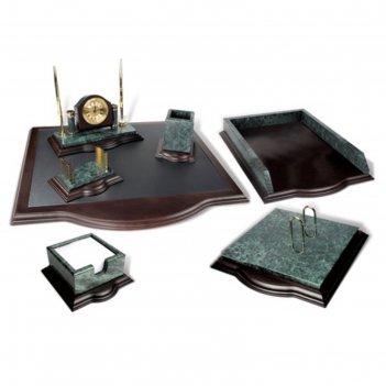Набор настольный galant мрамор+дерево, 7 предметов+часы, с золотистой отде