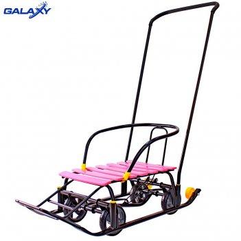Снегомобиль snow galaxy black auto розовые рейки на больших мягких колесах