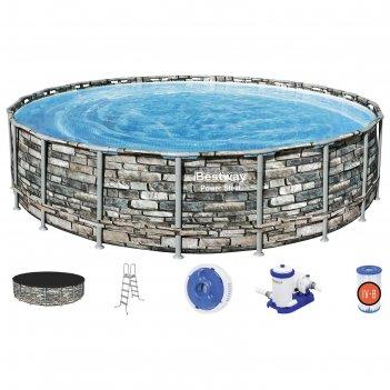 Бассейн каркасный power steel 610 x 132 см (фильтр-насос, тент, лестница)