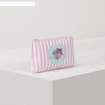 Косметичка простая бабочки,18*2*10, отд на молнии, розовый