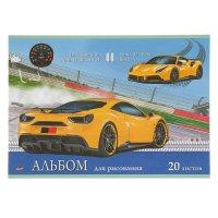 Альбом для рисования а4, 20 листов на скрепке желтое гоночное авто, обложк