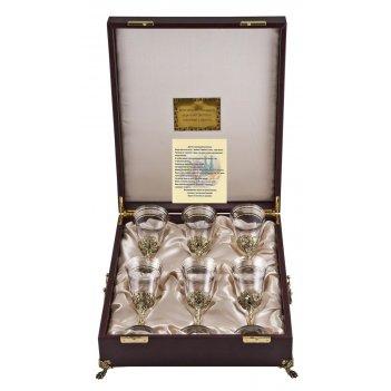 Набор из 6-ти бокалов для вина богемия, отделка флорис арт. нфвб-06ф