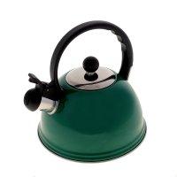 Чайник из нержавеющей стали 2 л элит со свистком, зеленый