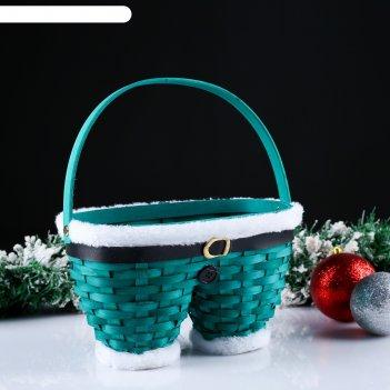 Корзина «новогодние штаны», зелёные, 23x12x13/23 см, шпон