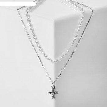 Кулон цепь нить из жемчуга, крестик мини, цвет белый в серебре, 35 см