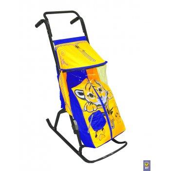 Санки-коляска снегурочка-2-ртигренокжелт-голуб