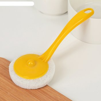 Губка для посуды абразивная с ручкой 20 x 8 см, цвет микс