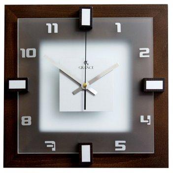 Часы настенные i-03  темный орех 310х310х40 мм