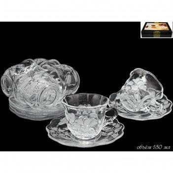 Чайный набор из 12 предметов лилия, стекло