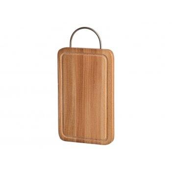 Доска разделочная деревянная с мет.ручкой и желобом 26*16*2 см.бук (кор=10