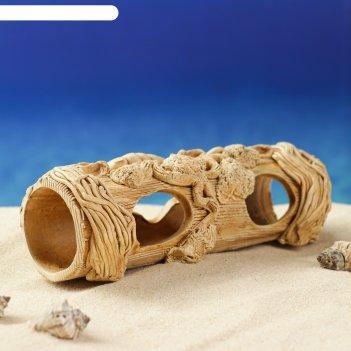 Декорации для аквариума труба с водорослями микс