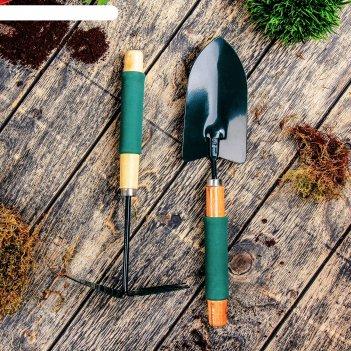 Набор садового инструмента, 2 предмета, 36 см, рукоять дерево с поролоном