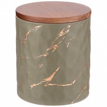 Банка для сыпучих продуктов коллекция золотой мрамор цвет:gray 11,5*13,7 с