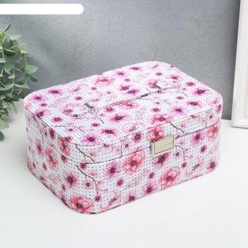 Шкатулка кожзам для украшений розовые маки 11х25,5х15,5 см