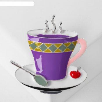 Брошь чашка чая, цвет сиреневый в серебре