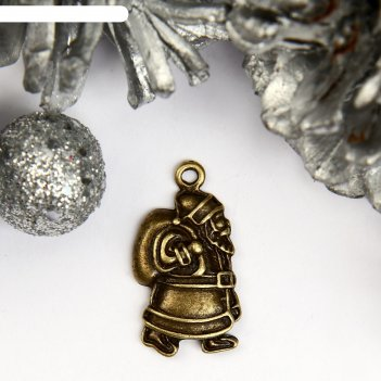 Декор для творчества металл дед мороз с мешком подарков бронза 2,2х1,1 см