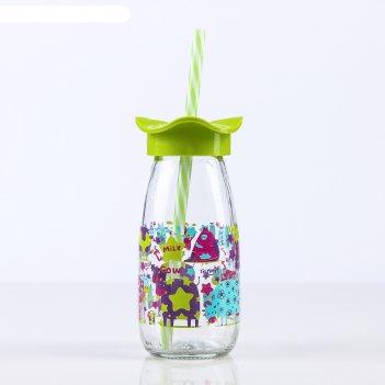 Бутылка 250 мл молочный путь, с трубочкой, рисунок и цвета микс