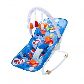 Шезлонг-качалка для новорождённых «транспорт», игровая дуга, съёмные игруш