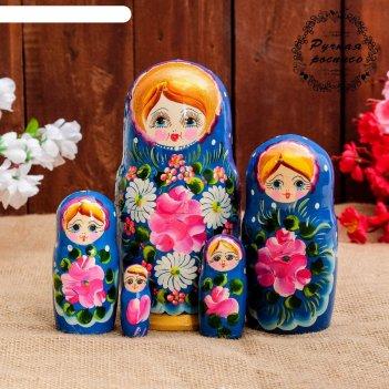 Матрёшка «ромашки», синее платье, 5 кукольная, 18 см