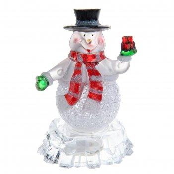 Игрушка световая снеговик на льдине с подарком (батарейки в комплекте) 1 l