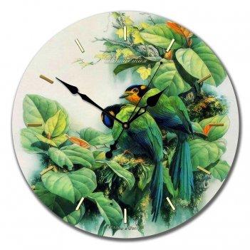 Настенные часы из стекла династия 01-013 птички зеленые