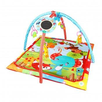 Развивающий коврик с дугами «слоник», 5 игрушек + безопасное зеркальце