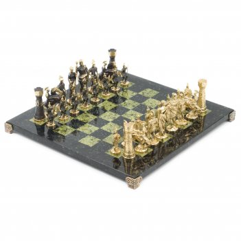 Шахматы римские бронза змеевик