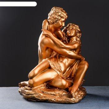 Фигура влюбленные на камне средние 37х41х50см, бронза