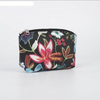 Сумка-косметичка 1103, 16*7*10, отдел на молнии, черный цветы разноцв.