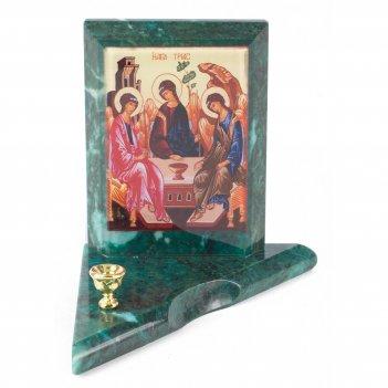 Икона с подсвечником святая троица малая змеевик 95х95х100 мм 350 гр.