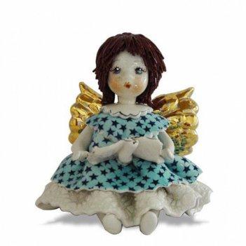 80079 сидящий ангел в голубом h 8 см