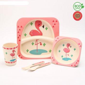 Набор бамбуковой посуды розовый фламинго, тарелка, миска, стакан, приборы,