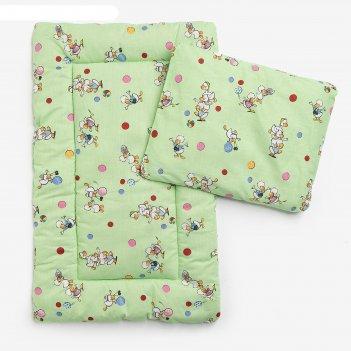 Комплект в коляску (матрасик 70*40 см, подушка 30*40 см), овеч шерсть, цве